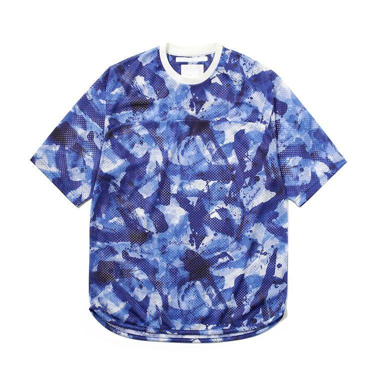 画像1: White Mountaineering / ホワイトマウンテニアリング / sumi-e painting mesh hokey jersey shirt.